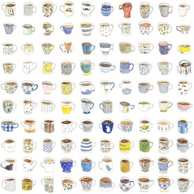 A grid showing 100 wobbly mugs