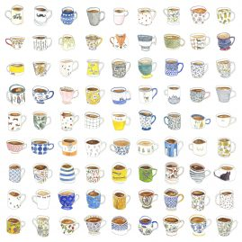 Watercolour drawing of 91 individual tea cups