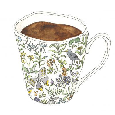 Mug with a pattern of plants and birds