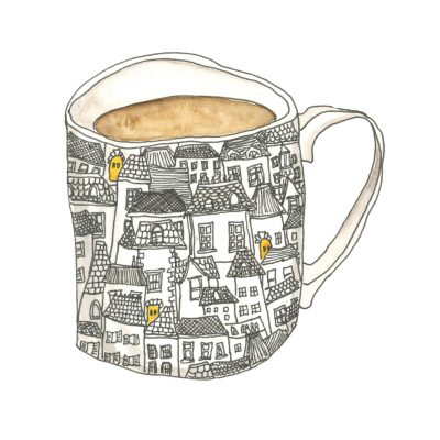 A mug with an intricate pattern of houses