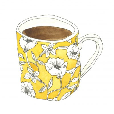A yellow floral mug