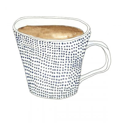 A mug covered in small blue dots