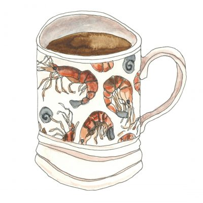 A mug with a pattern of shrimp and shells