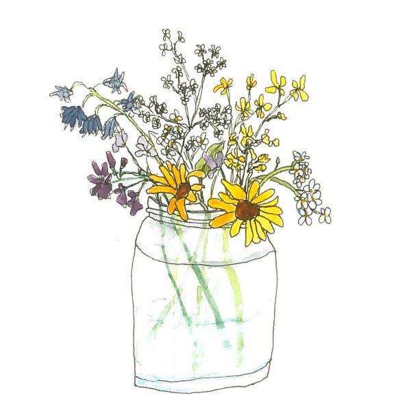 Watercolour of flowers in a jar