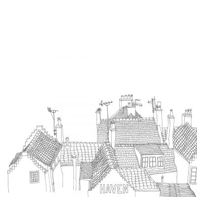 Pen drawing of chimneys and rooftops