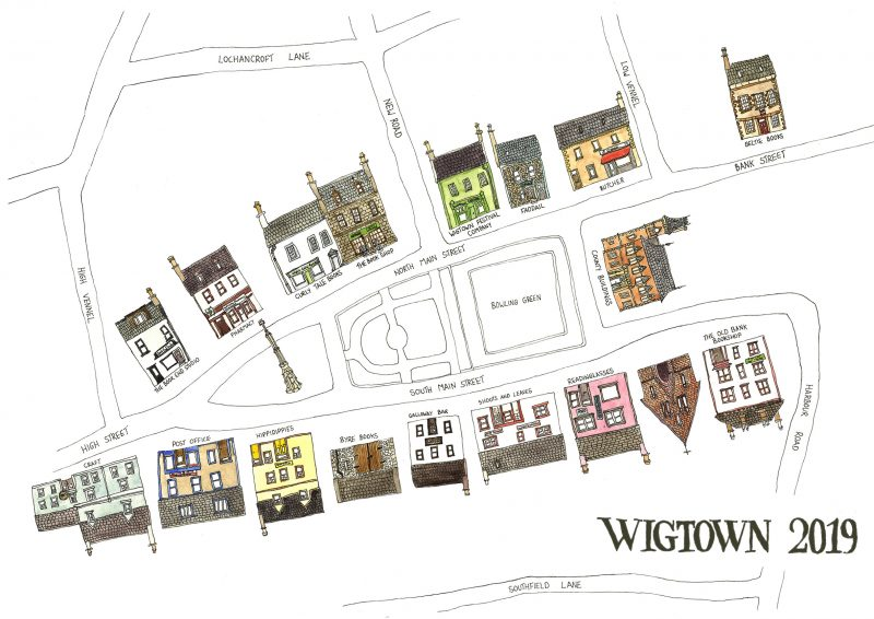 An illustrated map of Wigtown