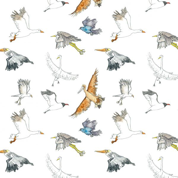 Repeat pattern of flying seabirds