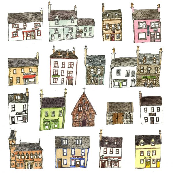 A pen and watercolour drawing of a collection of brightly coloured houses