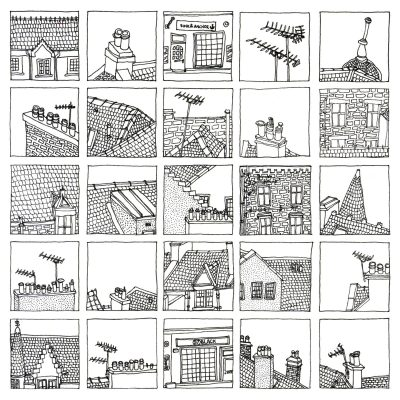 A grid of 25 tiny detailed drawings of rooftops and chimneys