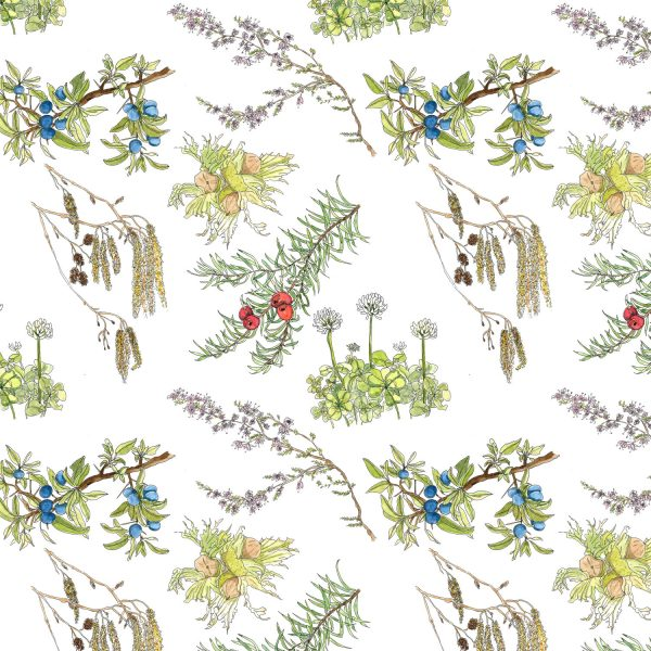 A repeat pattern of delicate watercolour plants