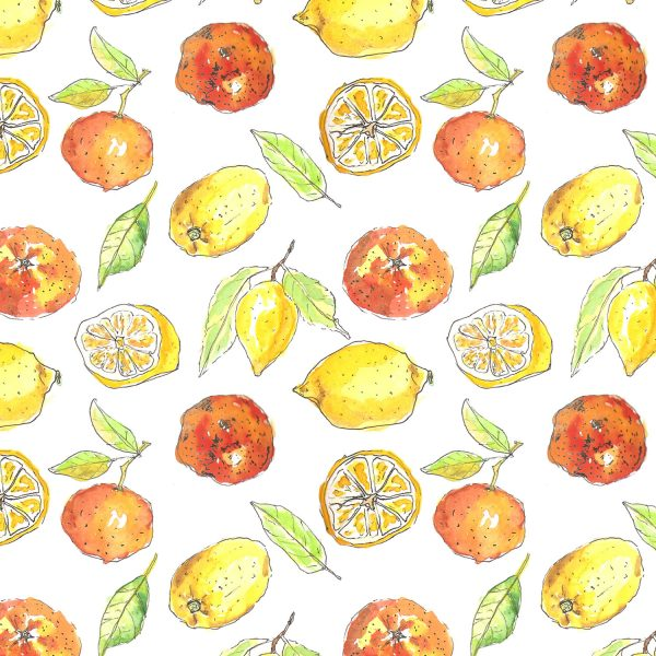 A repeat pattern of brightly coloured oranges and lemons