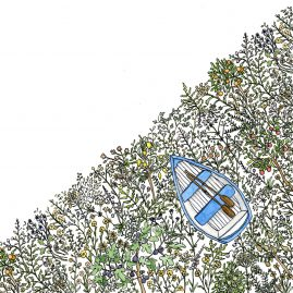 Illustration of a blue and white boat floating in a sea of flowers and fruit trees