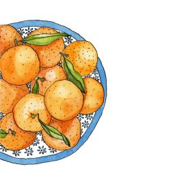Watercolour illustration of oranges in a blue and white patterned bowl