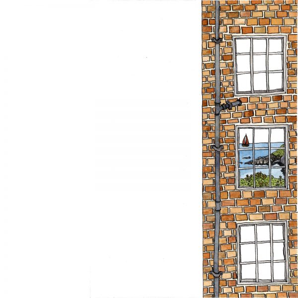 Ink and watercolour illustration of a brick building with three windows. Behind one of the windows is a seascape and boat with a red sail.