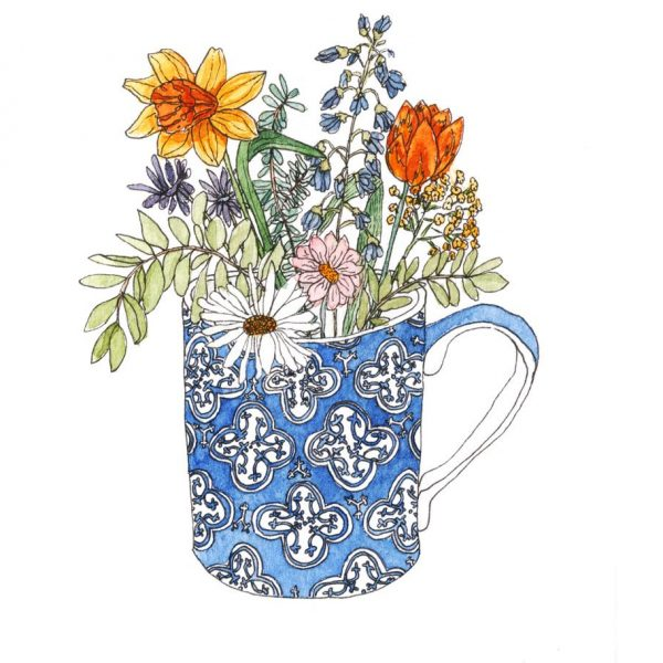 Watercolour painting of a blue patterned mug filled with bright flowers