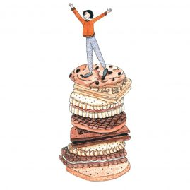 Watercolour illustration of a girl in a yellow jumper standing on top of a pile of biscuits