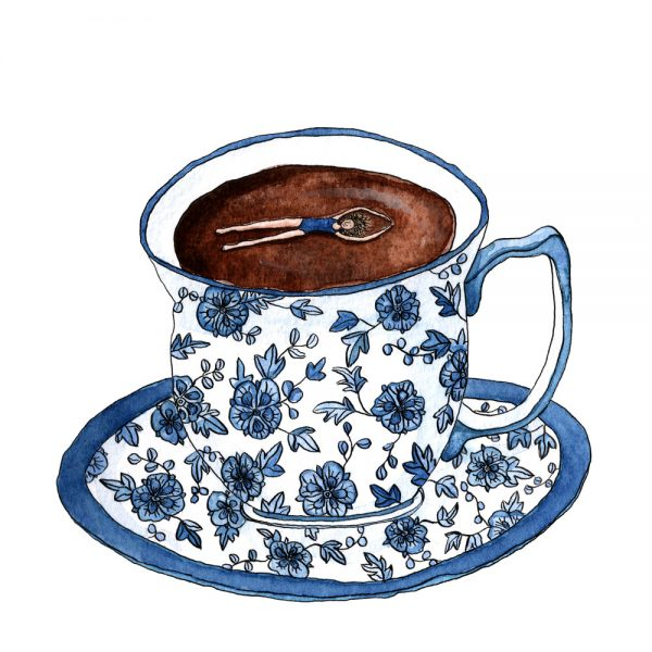 A tiny woman floats in a blue and white patterned teacup