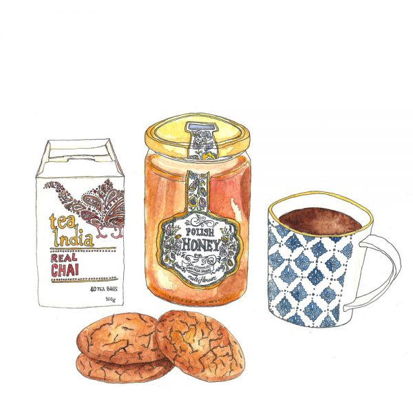 Pen and watercolour illustration of a box of chai, some honey, a mug anf three biscuits