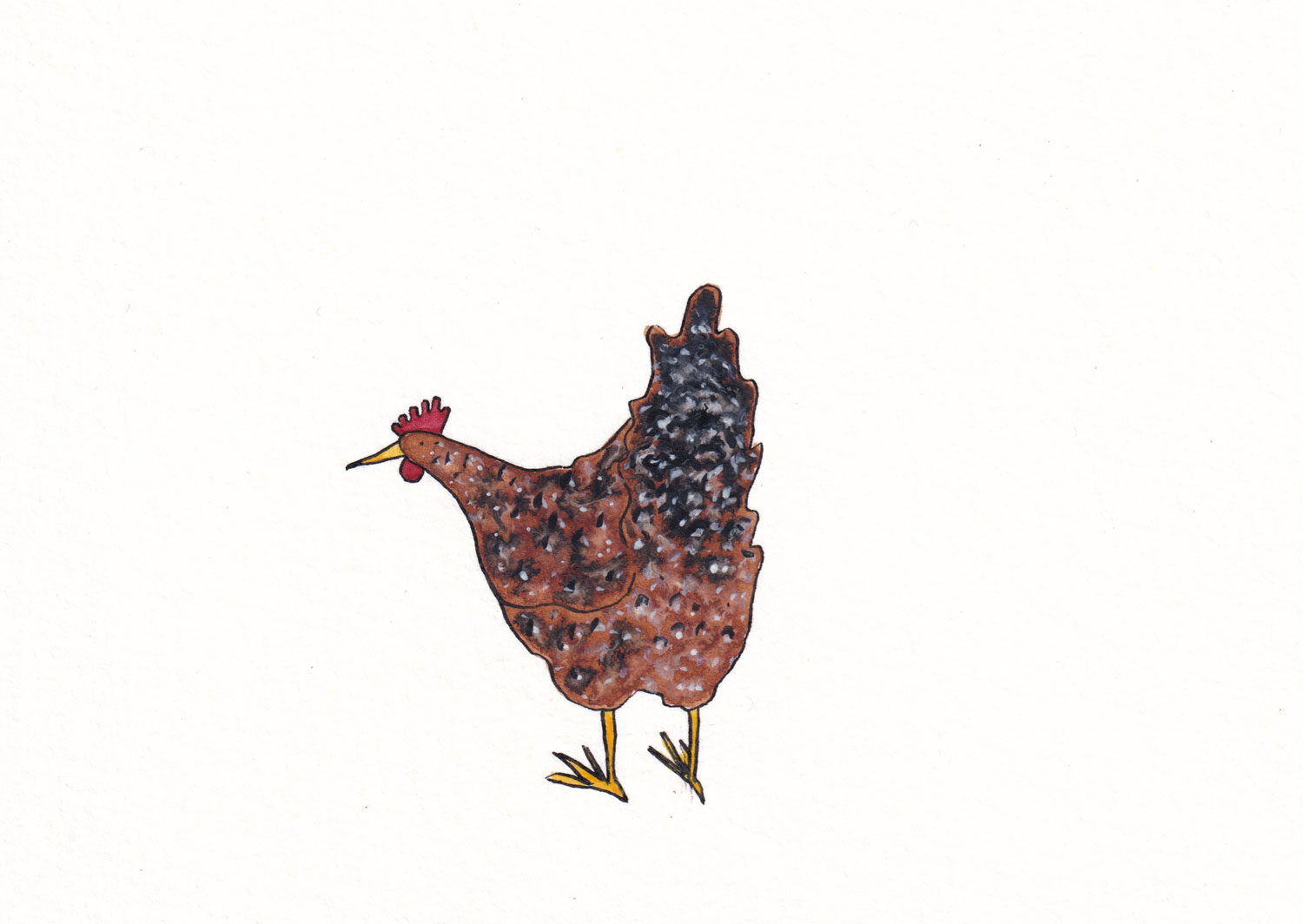 Illustration of a hen with a fluffy butt