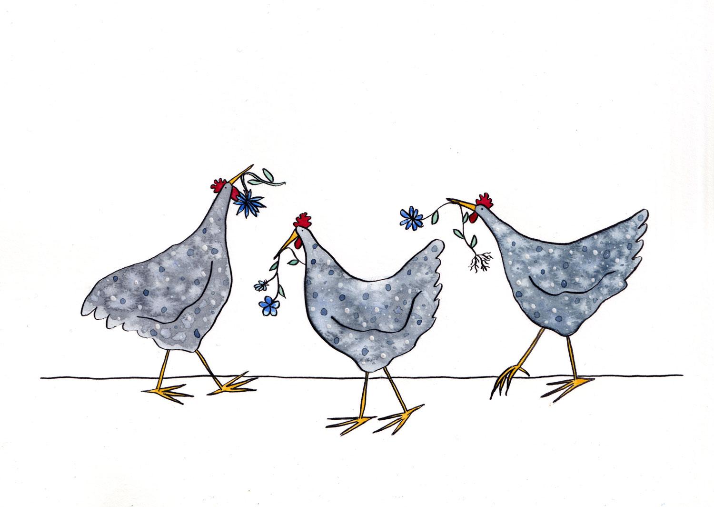 Painting of three grey hens with flowers in their beaks