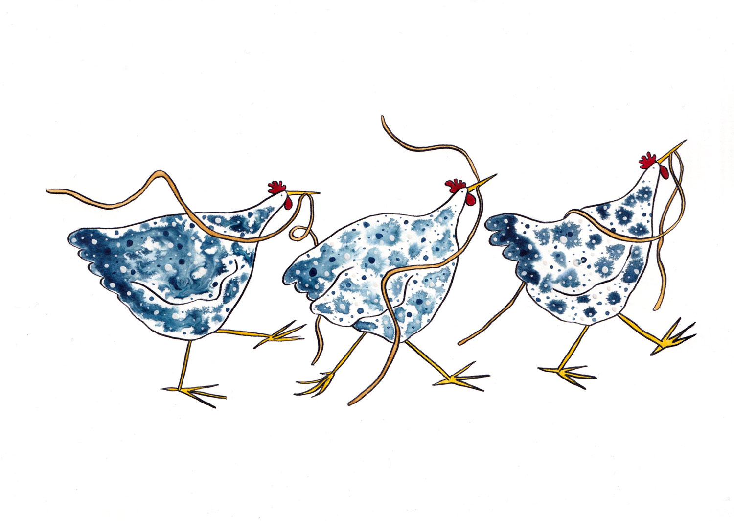 Painting of three blue and while hens eating spaghetti