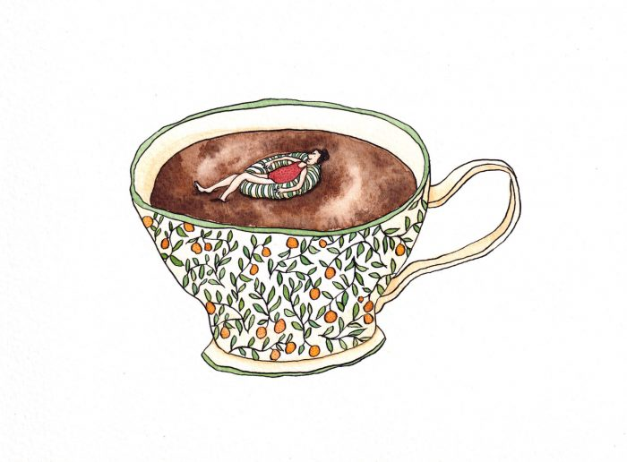 A woman floating in a cup of tea.