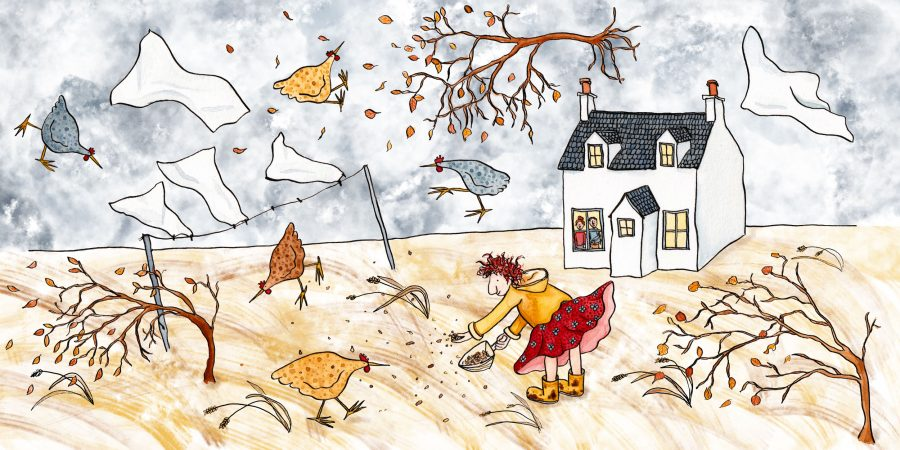 Watercolour illustration of a woman feeding hens on a very windy days.