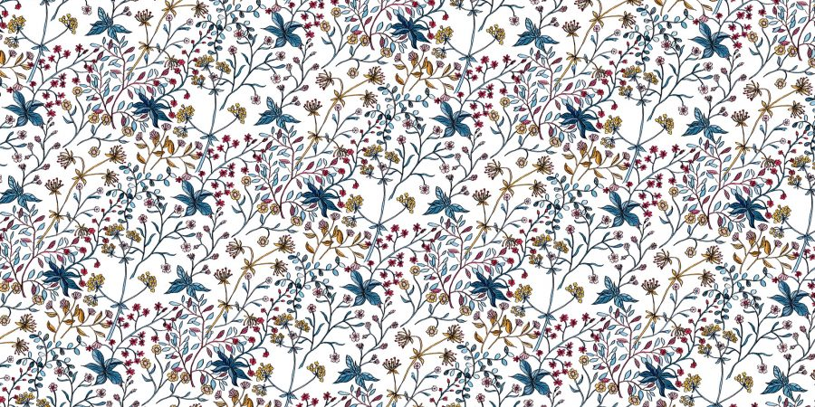 Seamless repeat pattern of folksy florals, painted in ink and watercolour