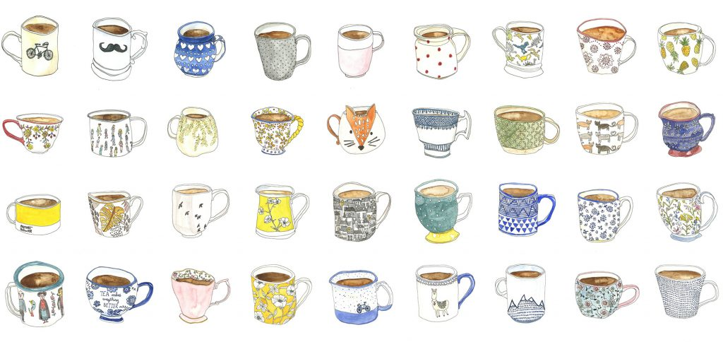 A selection of mug drawings from the 100 days project scotland