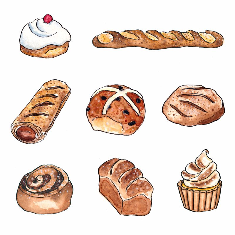 Watercolour drawing of a selection of bread, buns and cakes