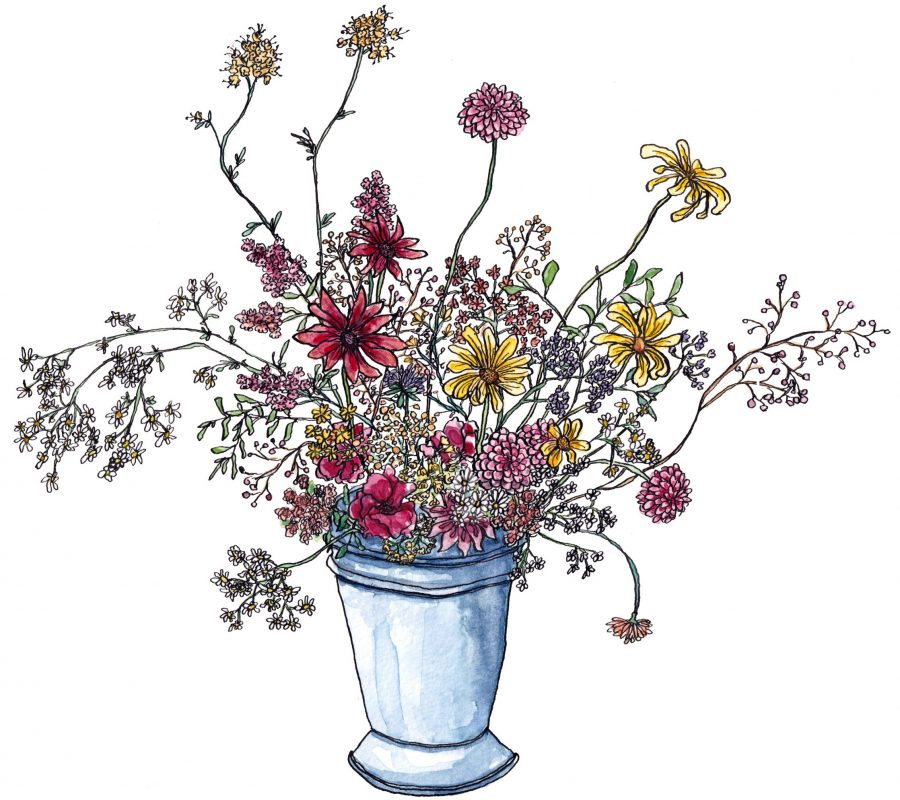 Watercolour painting of cheerful flowers in a quirky watercolour style