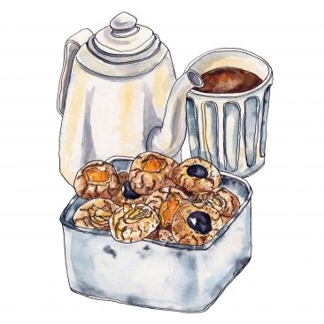 Box of Italian biscuits, a teapot and a cup of tea