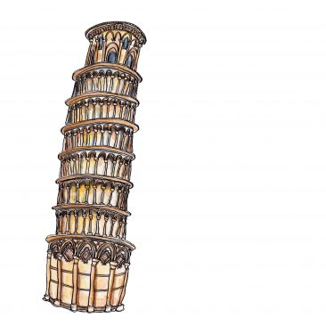 Drawing of the leaning tower of pisa in indian ink and winsor and newton watercolour paint