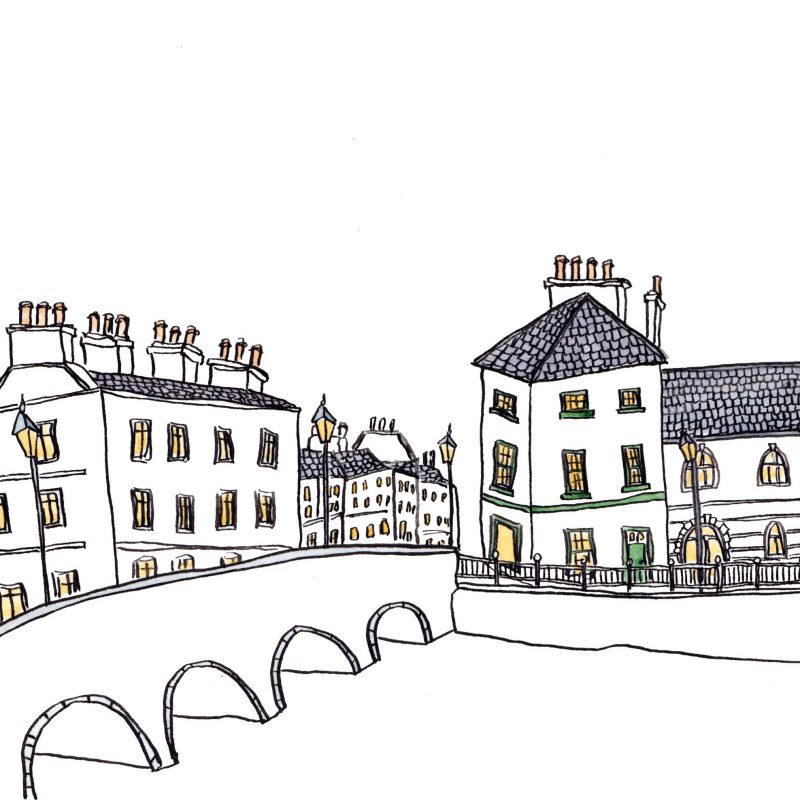 Drawing of the bridge and buildings in Sligo town.