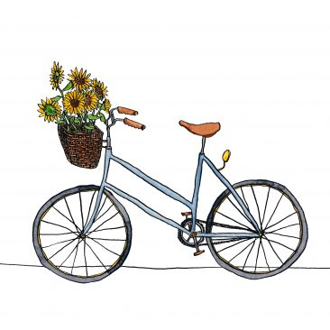 A blue bicycle with sunflowers in its basket, painted in a quirky watercolour style