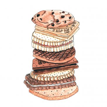 Hand drawn illustration of a stack of classic British biscuits